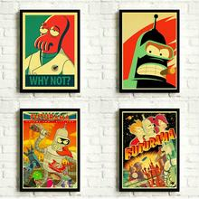 Futurama Cartoon Anime Kraft Paper Poster Wall Art Print Decoration Pictures Wallpaper Living Room Decor No Frame(China)
