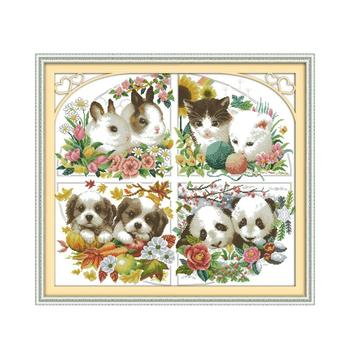 14/16/18/27/28 Four Seasons Animal Bunny Kitten Puppy Panda Handmade Sewing Thread Sewing Embroidery Cross Stitch Kit image