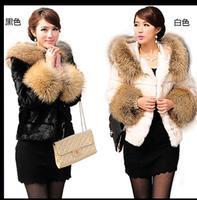Womens Faux Rabbit Fur Coat Raccoon Fur Imitation Causal Jacket Short Female Patchwork Hooded Fur Jackets Casaco De Pele J1628