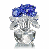 H&D Xmas Gifts Crystal Three Blue Roses Artificial Flower Valentine Day Gift Car Decoration Ornaments Home Wedding Decoration
