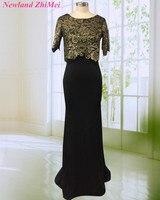 Очаровательный черный оболочка вечернее платье Половина рукава О Средства ухода за кожей Шеи Длинные женские вечерние платья Платья для же