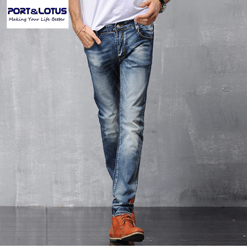 Port&Lotus Fashion Casual Jean Biker Jeans With Zipper Fly Solid Color Midweight Pencil Pants Slim Fit Jeans Men 006 wholesale autumn mens full length denim pencil pants vintage slim fit jeans cargo overalls pockets casual homme biker jean jumpsuits