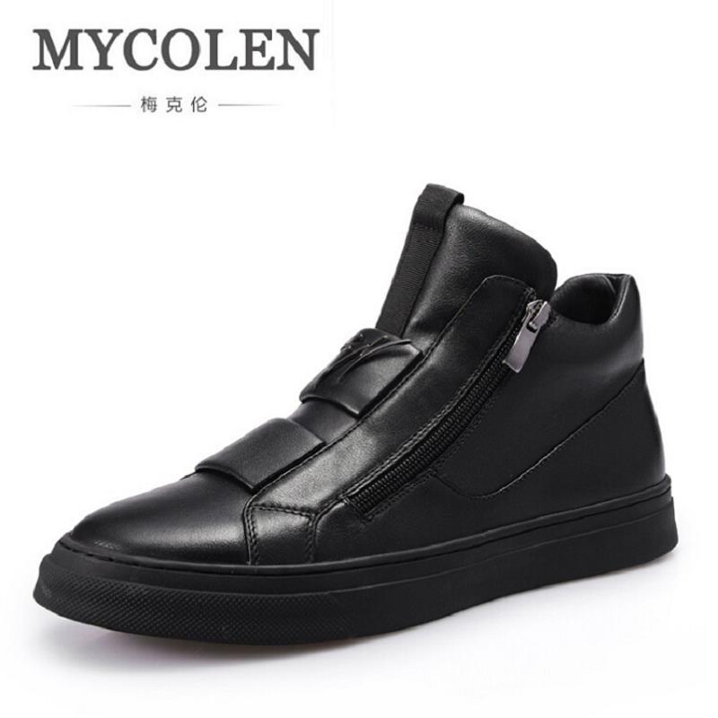 MYCOLEN New Men Shoes Classic Men Leather Shoes Zip Male Casual Shoes Luxury Brand Men Flats Leather Mocassim Masculino 2017 new flats men shoes zip round toe leather men loafers shoes fashion brand outdoor shoes casual sapatos masculino