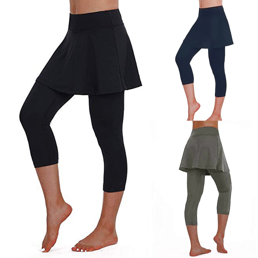 2019 New Spring Loose Spliced High Waist Women's Casual Skirt Leggings Tennis Pants Sports Fitness Cropped Culottes Z059