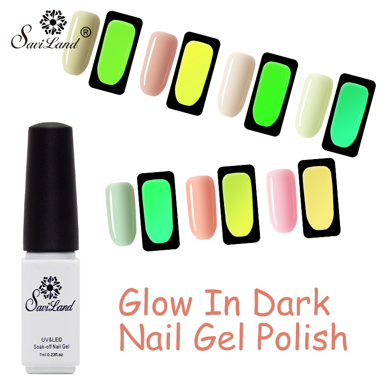 Saviland Manicure Art Glow In The Dark Light Soak Off UV Gel Nail Polish Fluorescent Neon Luminous Esmalte Shine Varnish