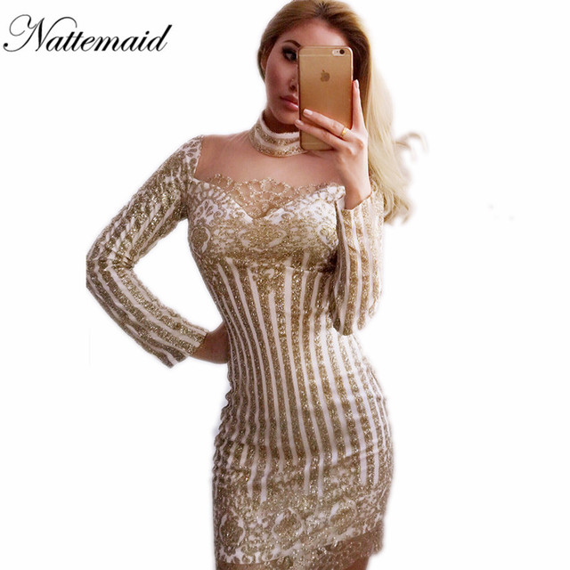 NATTEMAID Sexy Club dress long sleeve Gold sequins Dresses Slim Transparent  Mesh Bodycon Turtle-neck a5f63b15a037