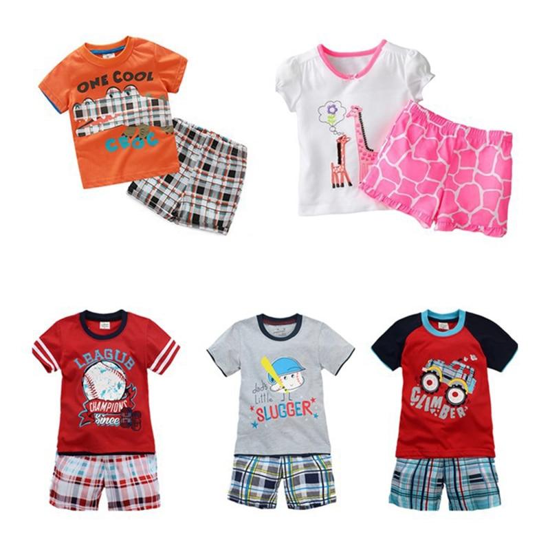 2017 Fashion Chidren Costume Short Sleeve+Shorts Cartoon Pattern Kids Sport Suit Boys Girls Clothing Sets Toddler Clothes