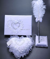 Free Shipping Elegant White Satin Wedding Guestbook and Pen and Ring Pillow Set Wedding Decoration Party Ceremony Supplies