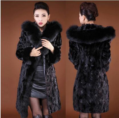 Casual Longue Faux De Capot Fourrure Femmes Section Manteaux Imitation Ck46 Secion Long Vison Taille Outwear Black Grande Vestes IxPORwO