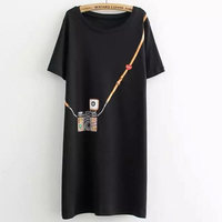 2017 New Fashion T Shirt Women T Shirt Large Size Summer Simple Camera Printed Long Section