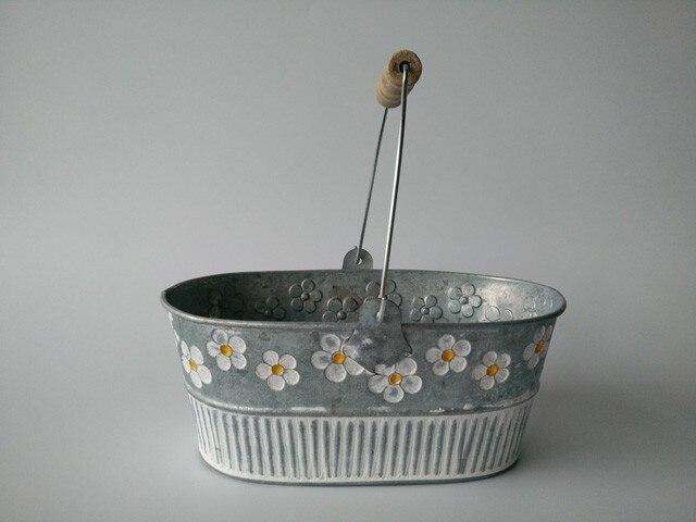 Metal Planter Iron Flower pot Oval Sharp tin box Iron pots Hanging Planter vintage Style 4pcs/Lot Free Shipping