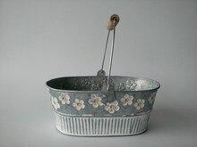 Metalen Planter Ijzeren bloempot Ovale Scherpe blikken doos Ijzeren potten Opknoping Planter vintage Stijl 4 stks/partij Gratis Verzending