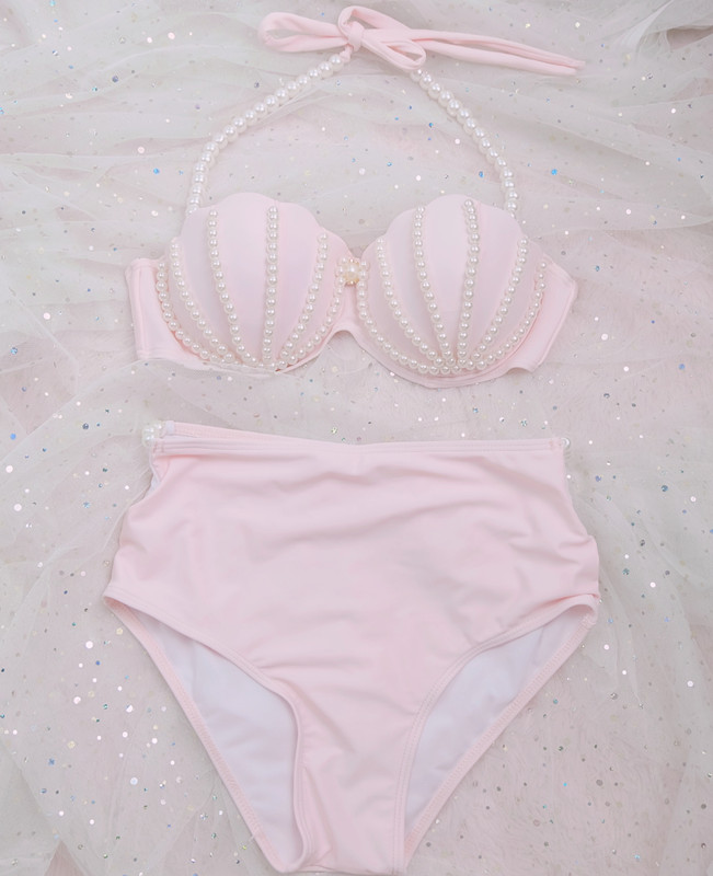 [STOCK] NEW Cute Swimsuit Mermaid Bikini swimwear Pink Shell Bra Pearl Decoration Summer Lolita Sweet Cloth free ship 1