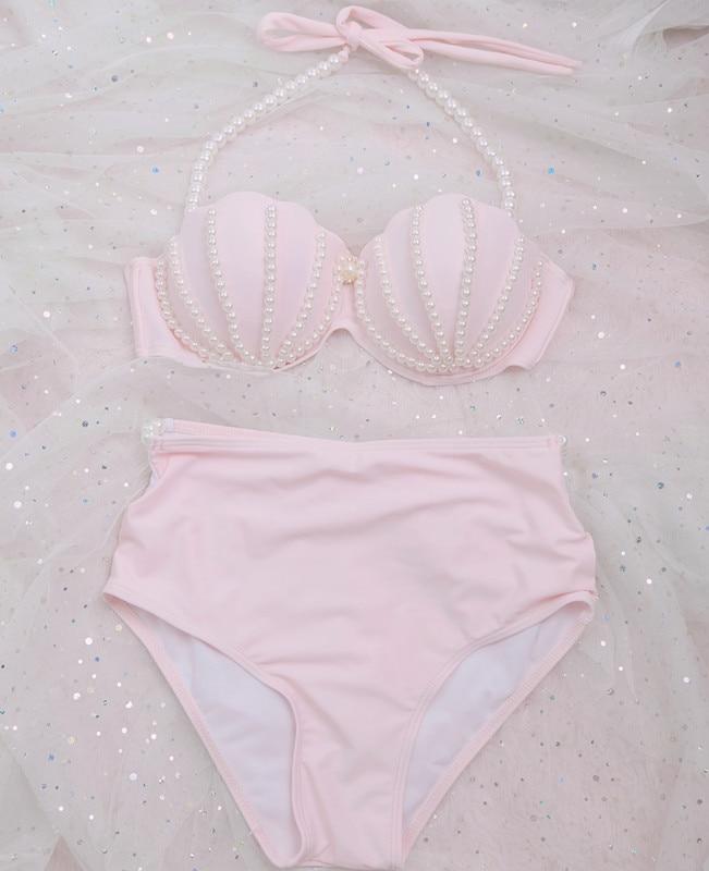 [STOCK] NEW Cute Swimsuit Mermaid Bikini swimwear Pink Shell Bra Pearl Decoration Summer Lolita Sweet Cloth free ship 1