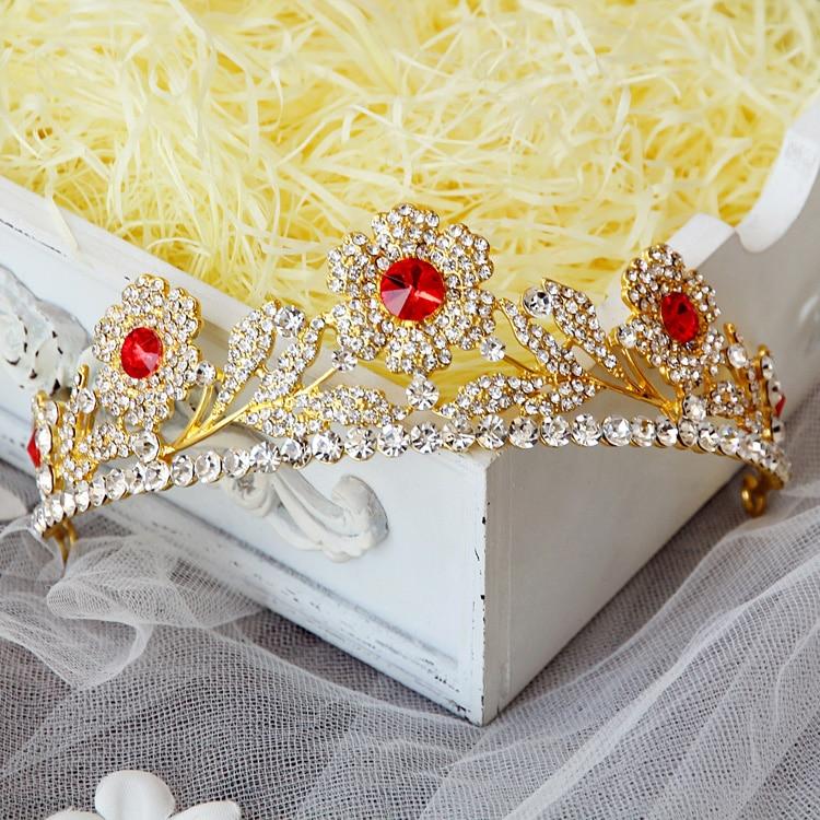 Fashion star golden rose red rhinestone crown crown headdress bride wedding dress wedding jewelry accessories