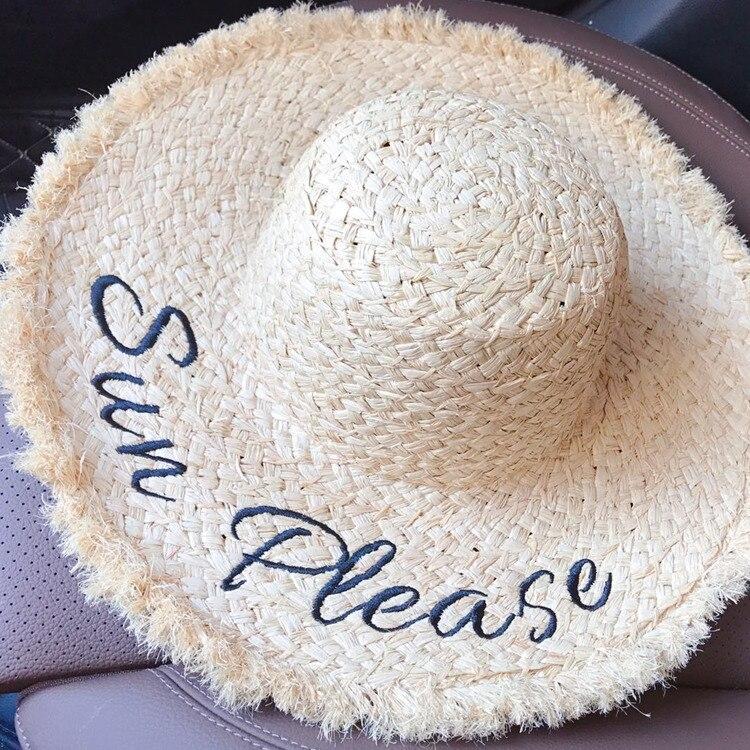 PXNDX NOUVELLE d'été Haut de gamme Main Armure Raphia Chapeau De Paille femmes Assez bonne qualité Plage Chapeau Solaire Broderie Lettre Chapeaux de soleil