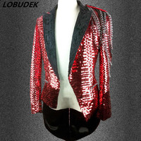 Men Red Sequins Swallowtail Blazers Punk Style Chain Tailcoat Bar Nightclub Star Singer Hip hop Costume Magician Show Stage Coat