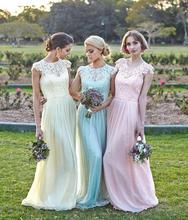 Lace and Chiffon Long Bridesmaid Dresses High Neck Cap Sleeve Mermaid Floor-Length Cheap Party Dress Gowns B87