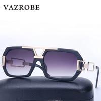 VAZROBE 2017 Gold Mens Sunglasses Women Brand Designer Square Sunglases Men Sun Glasses For Female Flat
