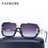 VAZROBE Męskie Okulary Przeciwsłoneczne Damskie Marka Projektant Plac Mężczyźni mężczyzna Okulary słoneczne okulary-mężczyźni Kobieta Flat Top Obiektyw czarny plac