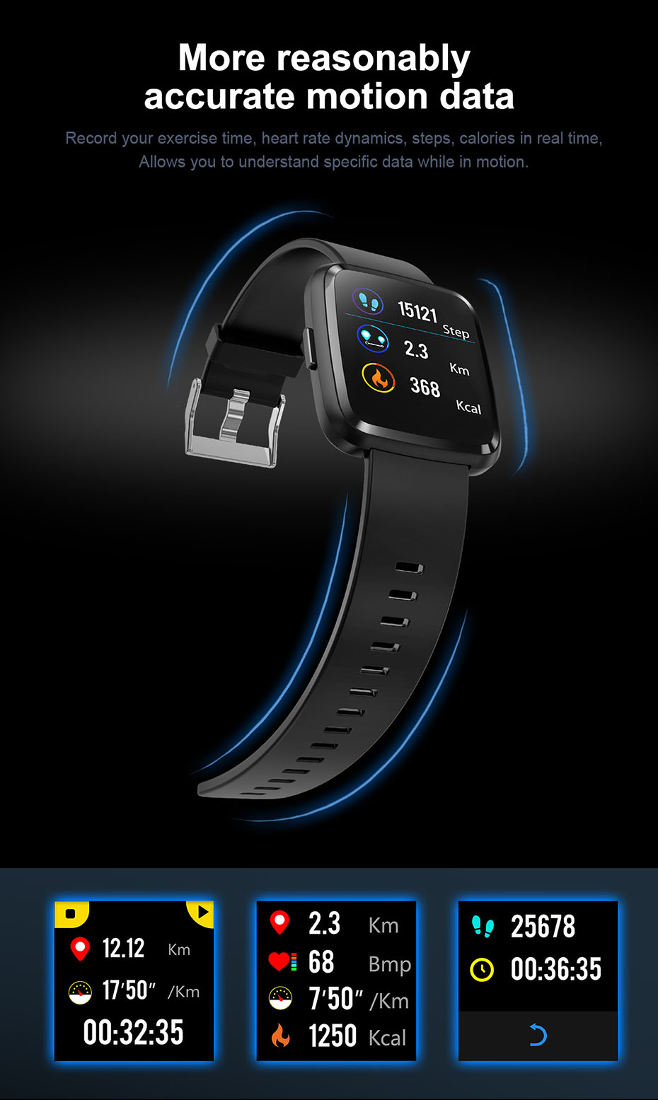 COLMI CY7 PRO Smart watch Full screen touch IP67 waterproof Bluetooth Sport fitness tracker Smartwatch For IOS Android Phone 5