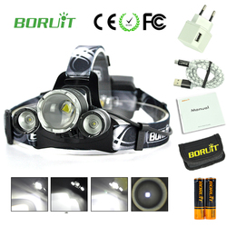 Boruit B22 Powerful led flashlight headlamp usb waterproof rechargeable led head headlight torch lamp with 18650 battery charger