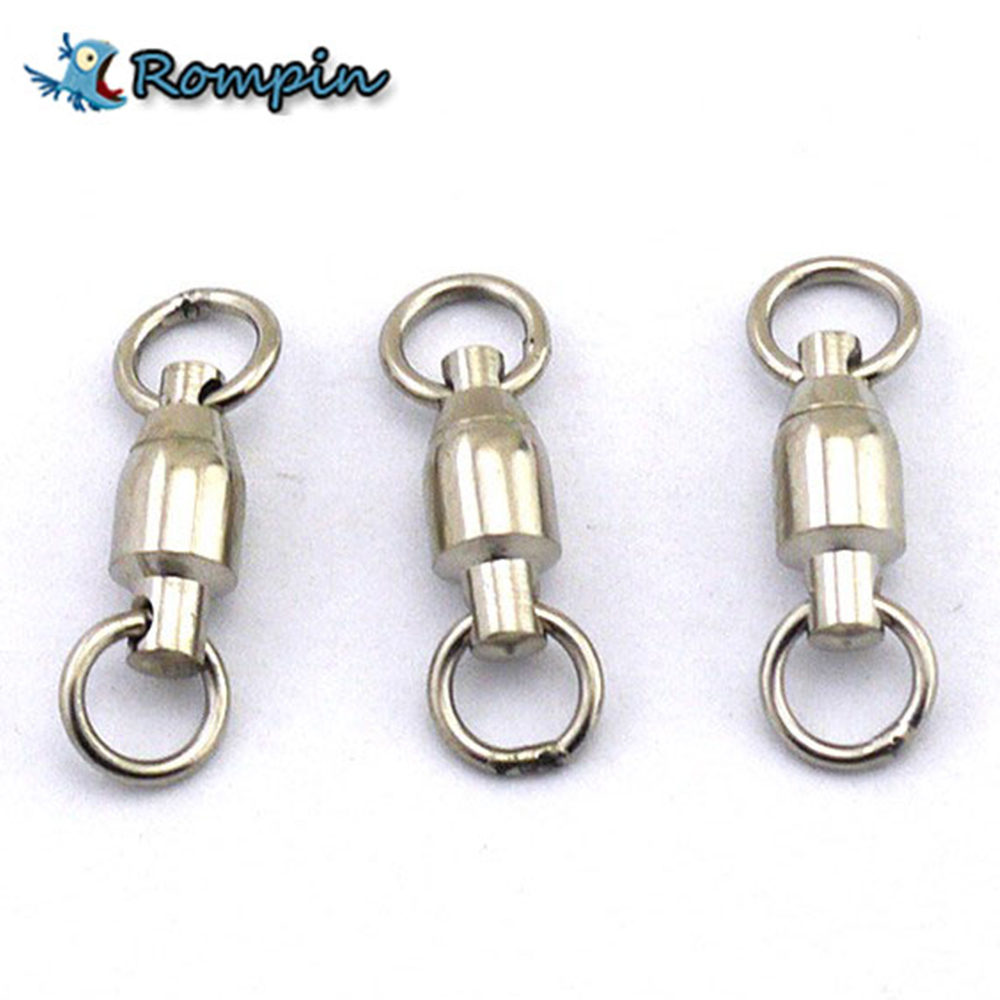 Rompin 10Pcslot Heavy Duty Ball Bearing Stainless Steel Fishing Rolling Swivels Connector Hook Solid Rings Size 012345#