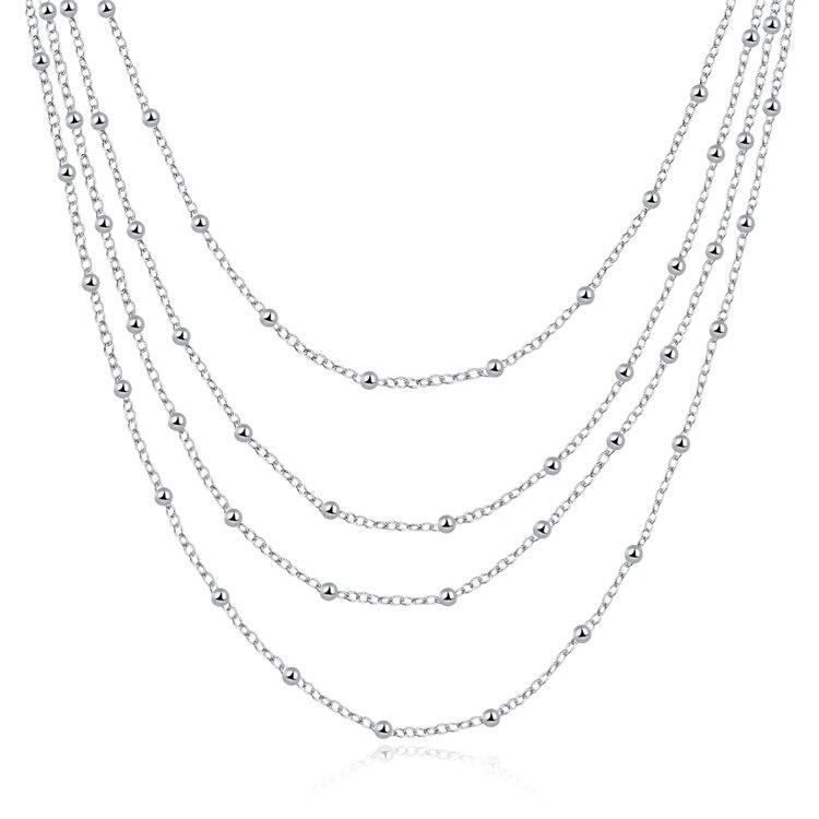 Одежда высшего качества 925 Серебряный Мульти Слои Бусины Цепочки и ожерелья для Для женщин модные серебристые воротник ювелирный завод Цен... ...