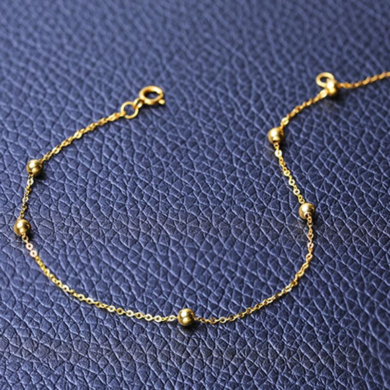 DAIMI pulsera de oro puro cadena satelital 18 K Cadena de cuentas de oro amarillo ajustable 18 cm pulsera de cadena de regalo de joyería - 4