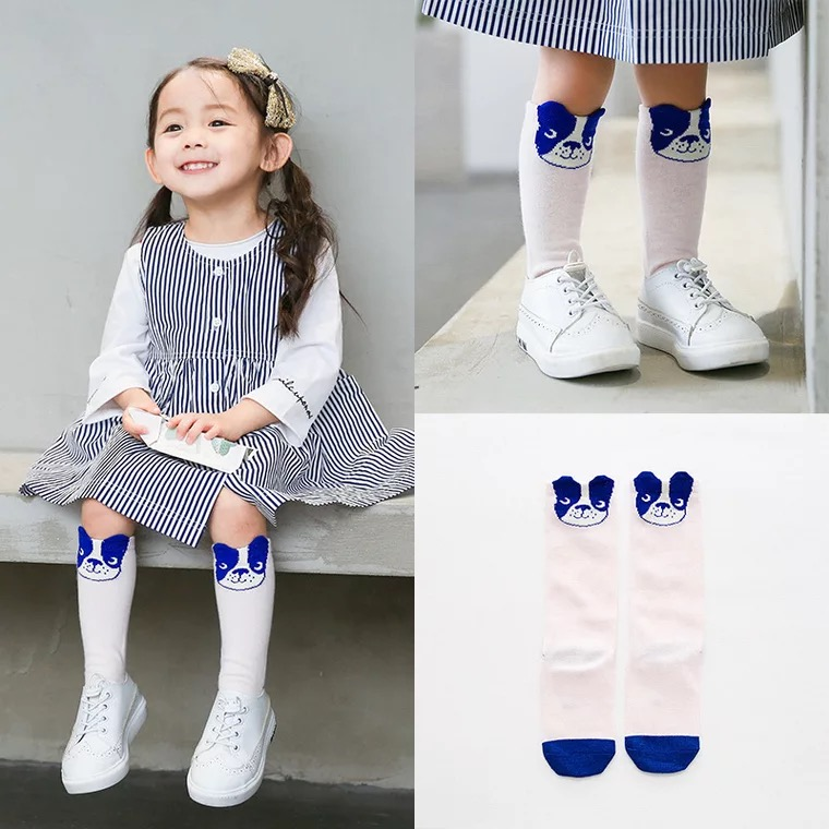 New autumn socks Kids Long Socks Knee High toddler Girls Boot Sock Leg Warmer Cute Dog Black baby Cotton Sock for baby girls