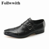 Новое поступление платье Для мужчин s дышащий вырезы Пряжка Мужская обувь квадратный носок черная обувь на плоской подошве/коричневый из на