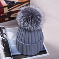 Fox Fur Ball Cap pom poms Winter Hat for Boina Women girl 's Fashion Hat knitted Cotton Beanies Cap Brand New Thick Female Cap
