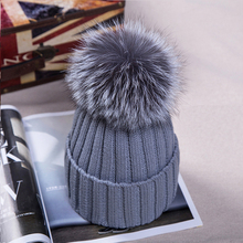 Women winter Hat Wool Knitted Beanies Cap Real Natural fox Fur pompom Hats Solid Colors Ski Gorros Cap Female Causal Hat autumn winter beanies hat for women knitted wool skullies casual cap with raccoon fox fur pompom solid colors ski gorros cap