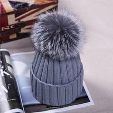 Women winter Hat Wool Knitted Beanies Cap Real Natural fox Fur pompom Hats Solid Colors Ski Gorros Cap Female Causal Hat недорго, оригинальная цена