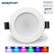 LED intelligent Downlight, multicolore Dimmable, Support Alexa Echo/Google accueil Assistant/IFTTT/APP contrôle 2.5 pouces 5W