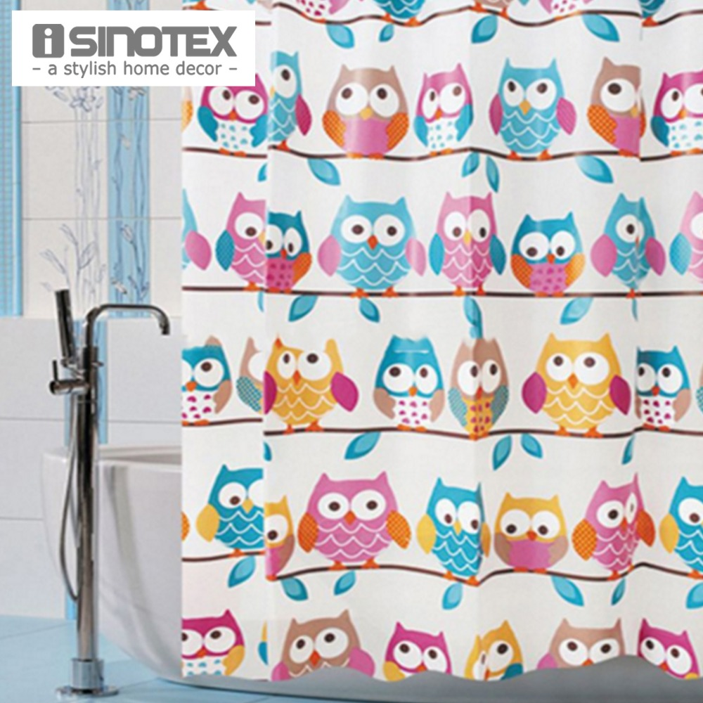 Owl shower curtains - 1 Pcs Shower Bath Curtain Cute Owls 180x180cm Bathroom Products Waterproof Eva Fashion Curtain With 12 Hooks