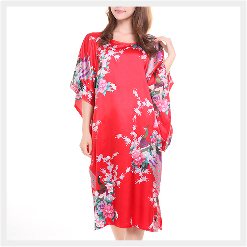 Summer New Women Satin Faux Silk Robes Sexy Print Peacock Lingerie Kimono Stain Robes For Women Plus More Colors Available ...