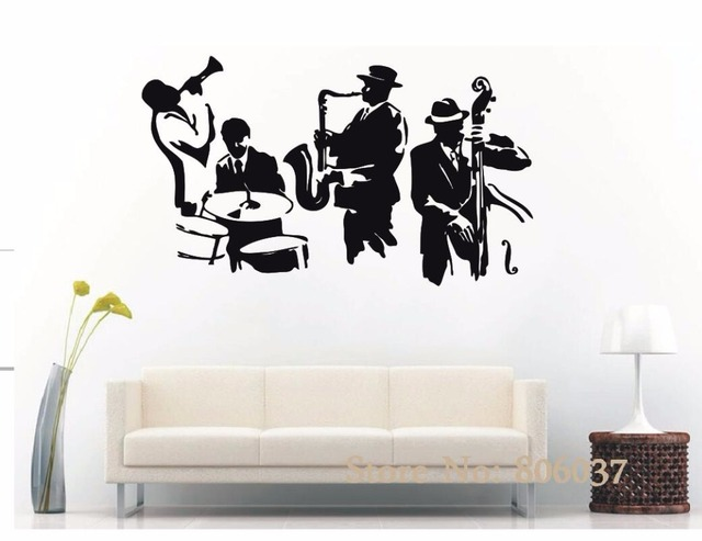 Wall decal jazz saxophone instrument tool band musical player sticker art vinyl drums bass wall decal