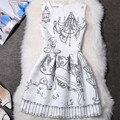 2017 Новый Лето Dress Европейский Vintage Dress Женщины Ретро Печати Лолита Dress Вечера Партии Платья Vestidos Де Феста