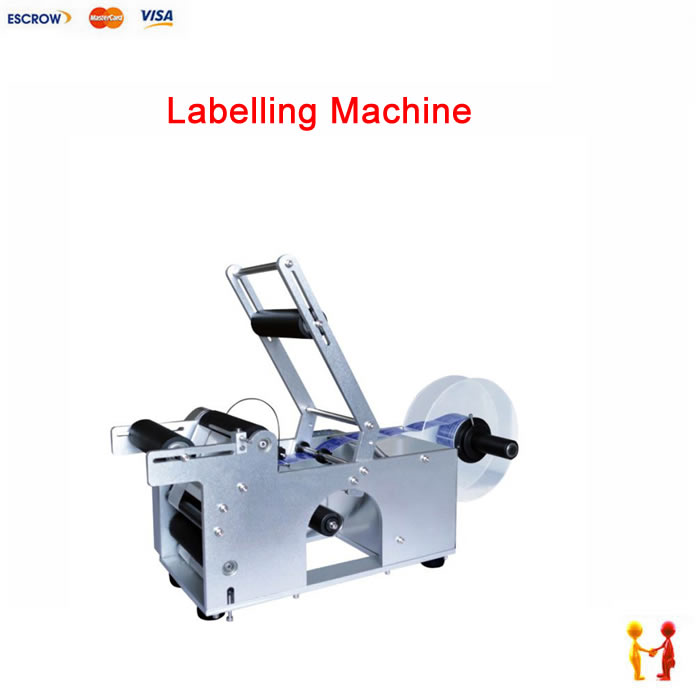 Semi-automatic round bottle labeling machine stickers used in PET bottles, plastic/glass/metal bottles