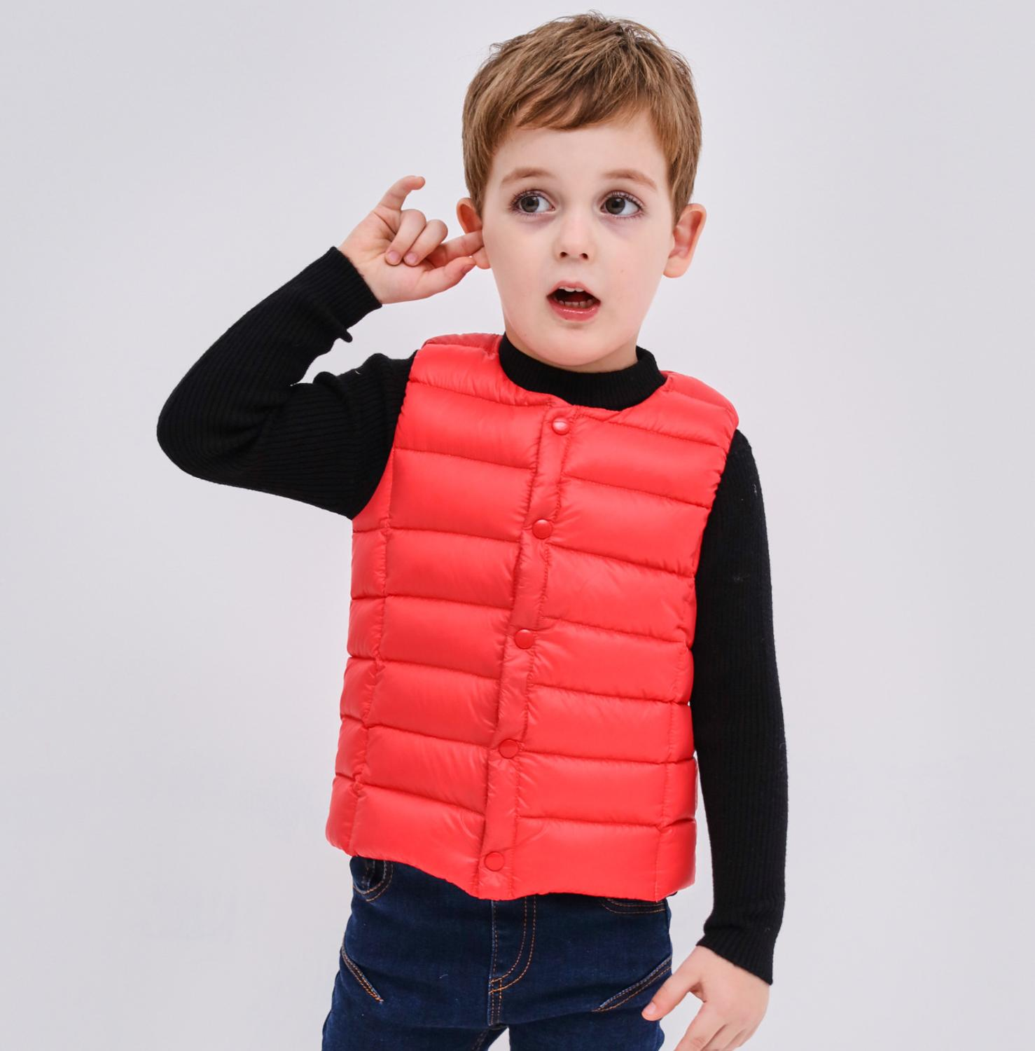 Winter Korean children and girls baby 90% white duck down jacket vest children vest children in the linerWinter Korean children and girls baby 90% white duck down jacket vest children vest children in the liner