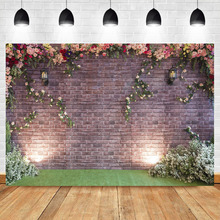 NeoBack Flower Brick Wall Background Photography Colored roses Weeding Party Backdrops Studio Shoots