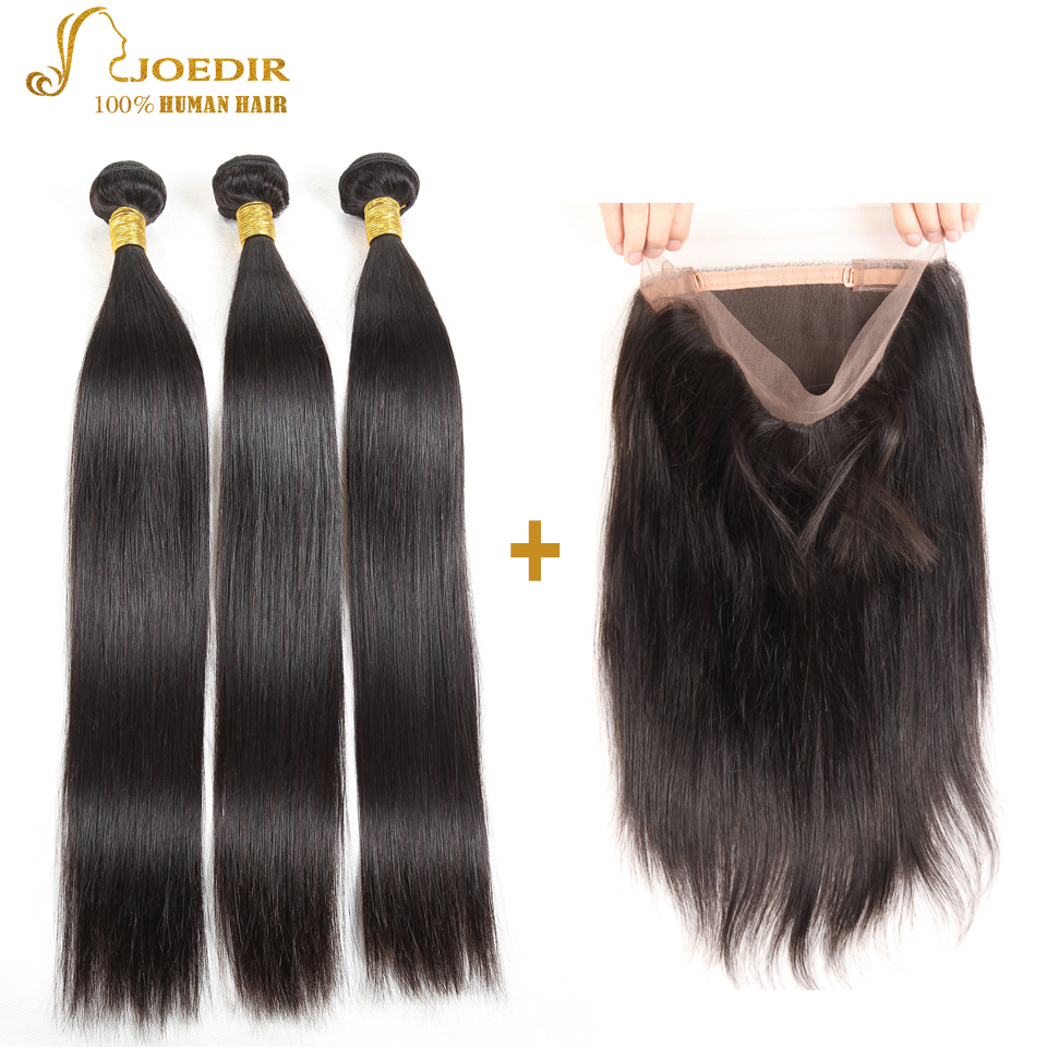 Joedir Malaysian Straight Hair 3 Bundles With 360 Lace Frontal Closure Non Remy 100% Human Hair Weave Natural Black Extension