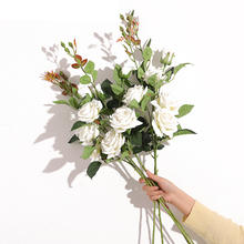 Xuanxiaotong 1pc High 90cm 3Head White Roses Artificial Flower for Wedding Centerpieces Arrangement Decor Valentines Day