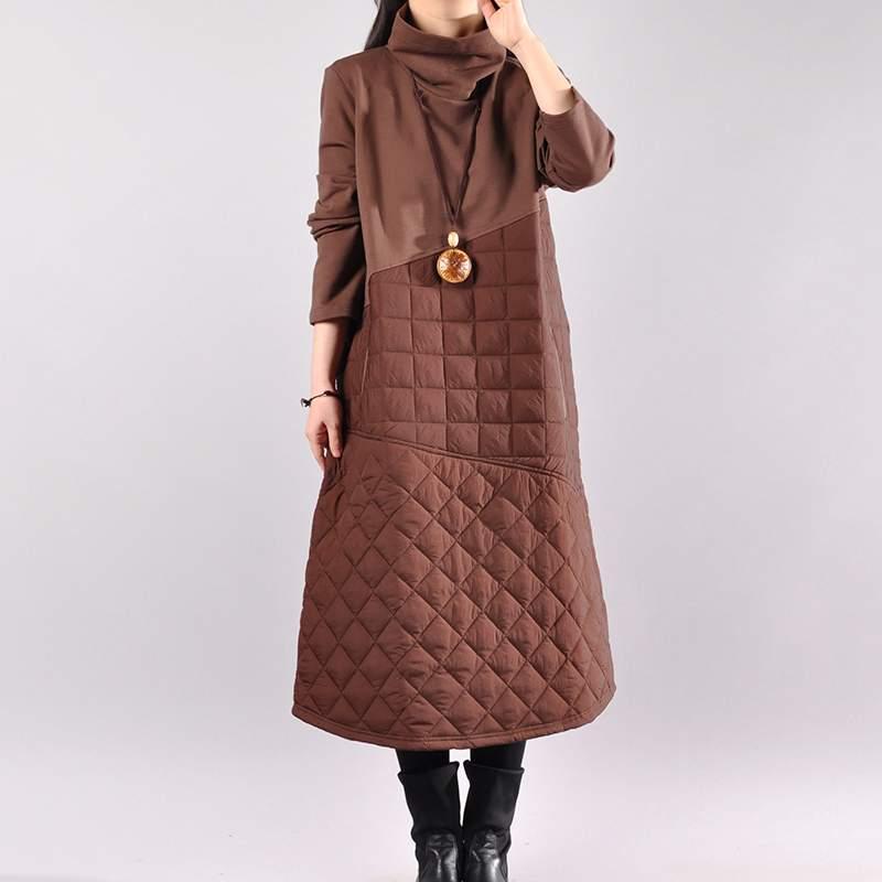 Mode Color Femmes Printemps Automne Robe Lâche Épais Nouveau Coffee Long Robes Chaud 2018 De black Moyen Vestidoes Haut Col Occasionnel Ly650 SHSYwqC