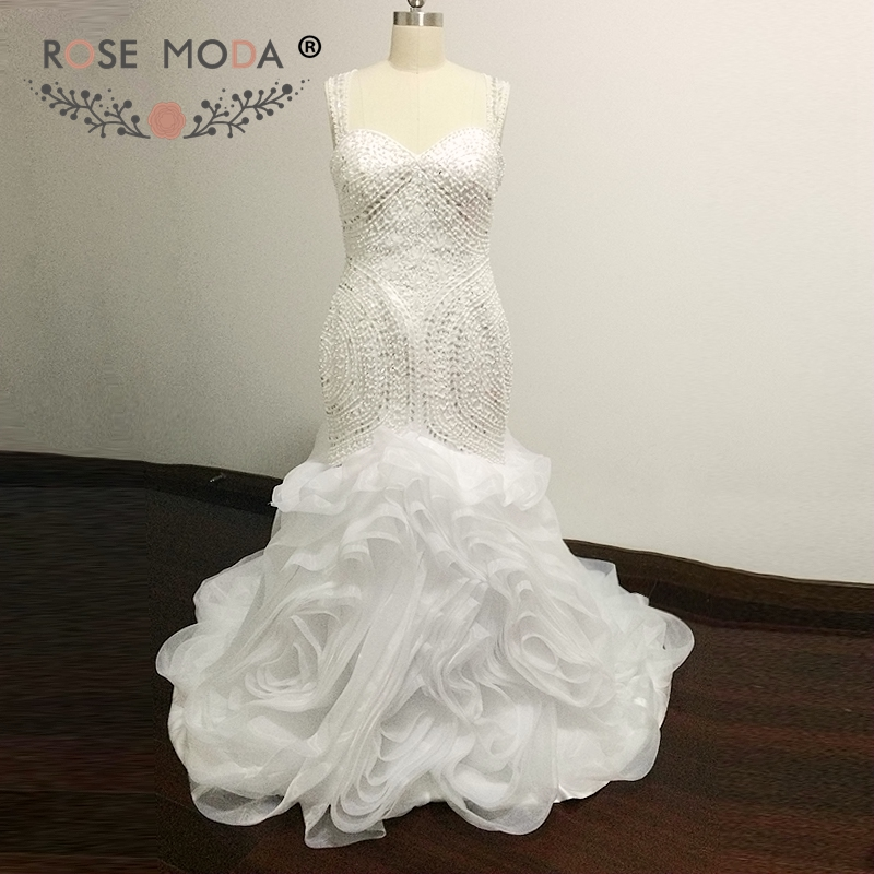 Rose Moda Stunning Heavily Beaded Mermaid Wedding Dress Illusion Tillbaka Nigeria Vit Brudklänning Vestidos de Noiva