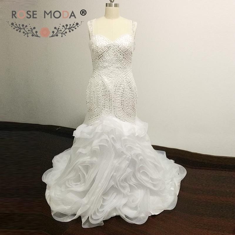 Rose Moda Menakjubkan Teratai manik Mermaid Wedding Dress Illusion Kembali Nigeria White Bridal Gown Vestidos de Noiva
