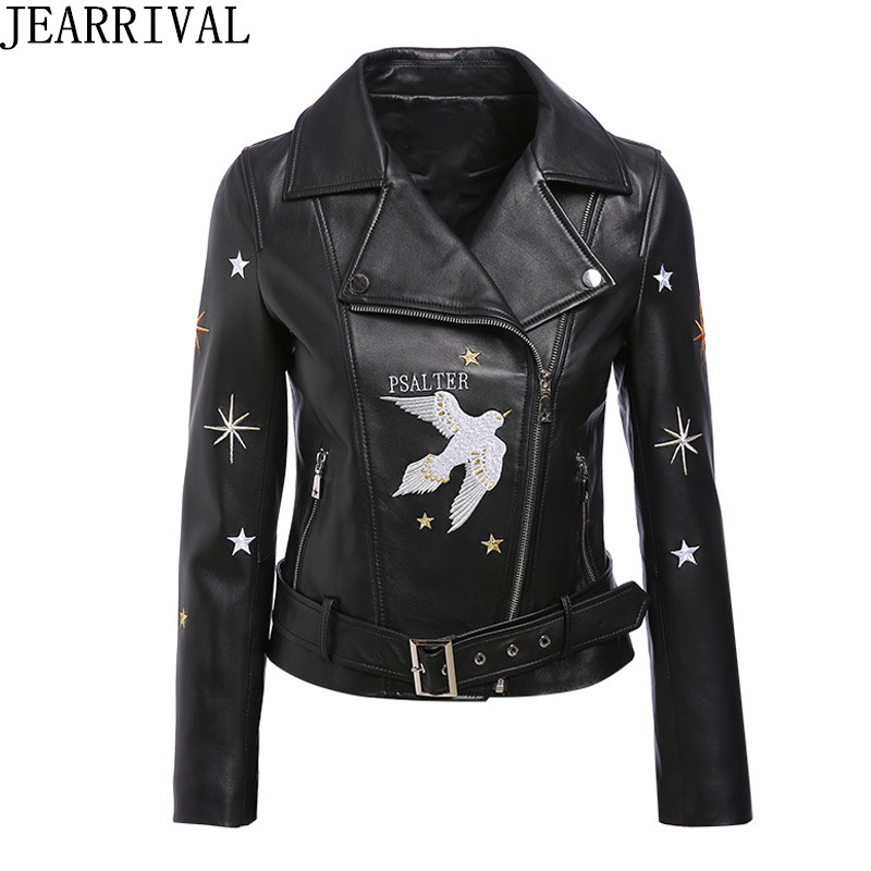 Embroidery PU Leather Jacket 2018 New Fashion Women Streetwear Zipper Short Coat Soft Faux Leather Slim Motorcycle Jackets