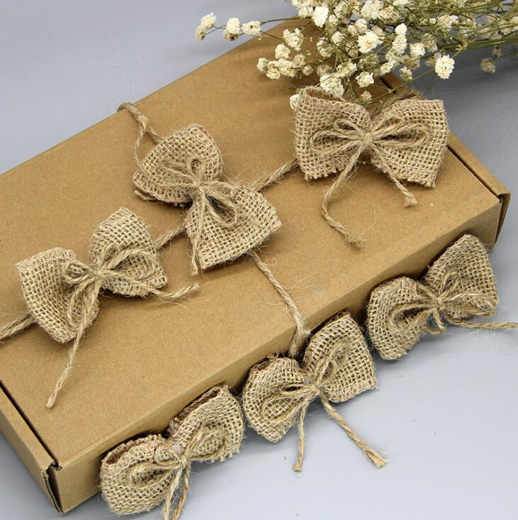 Diy Burlap Wedding Ideas: Natural Jute Burlap Hessian Bowknot Handmade DIY Craft