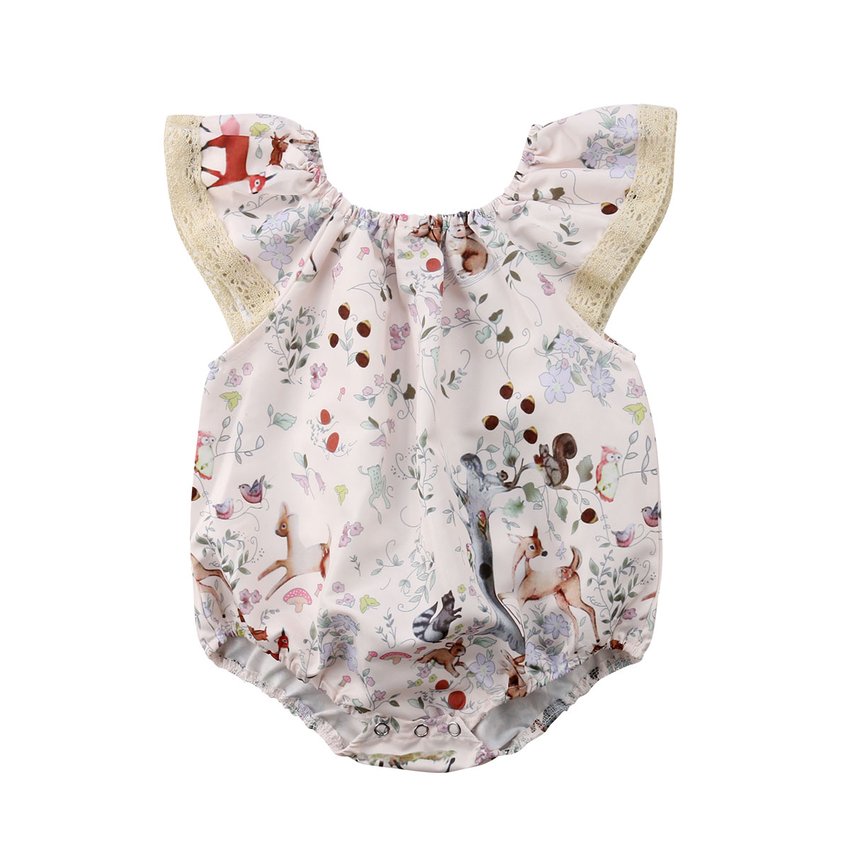 Summer Newborn Baby Girls Lace Animals Print Romper Playsuit Sunsuit Outfits Clothes ...